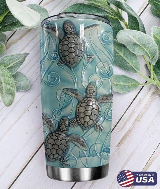 Sea Turtle ceramic tile 3D tumbler