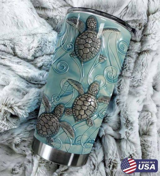 Sea Turtle ceramic tile 3D tumbler1