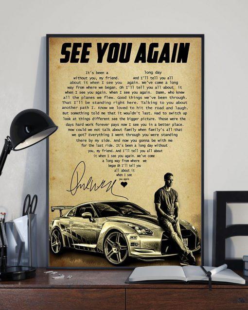 See You Again heart lyrics Paul Walker poster3