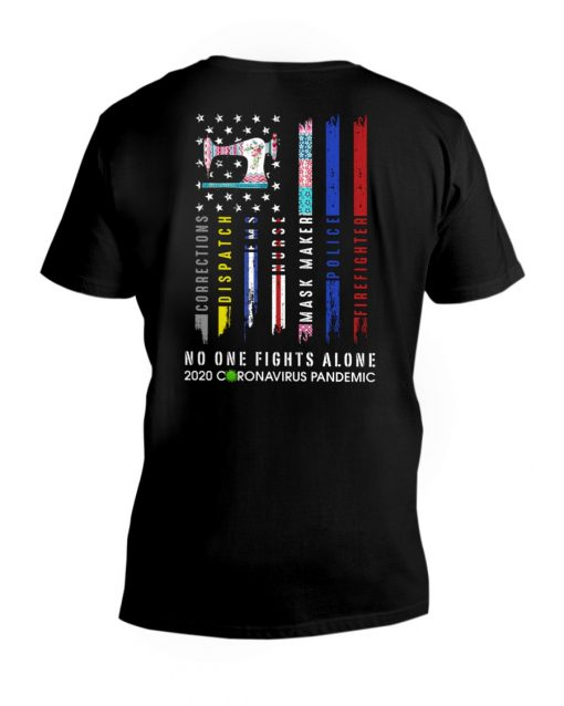 Sewing No one fights alone 2020 coronavirus pandemic v-neck