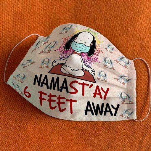 Snoopy Meditation Namas'tay 6 feet away Yoga cloth mask 0