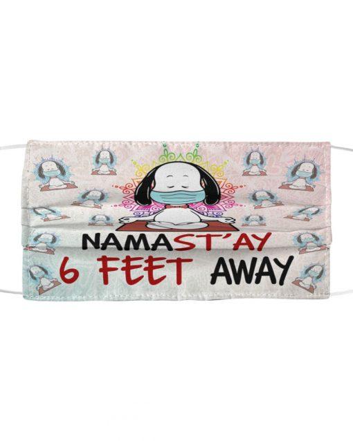 Snoopy Meditation Namas'tay 6 feet away Yoga cloth mask 1