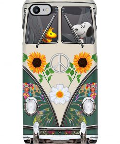 Snoopy and Woodstock Hippie bus phone case7