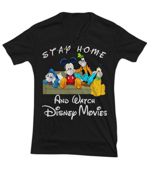 Stay home and watch Disney movie v-neck