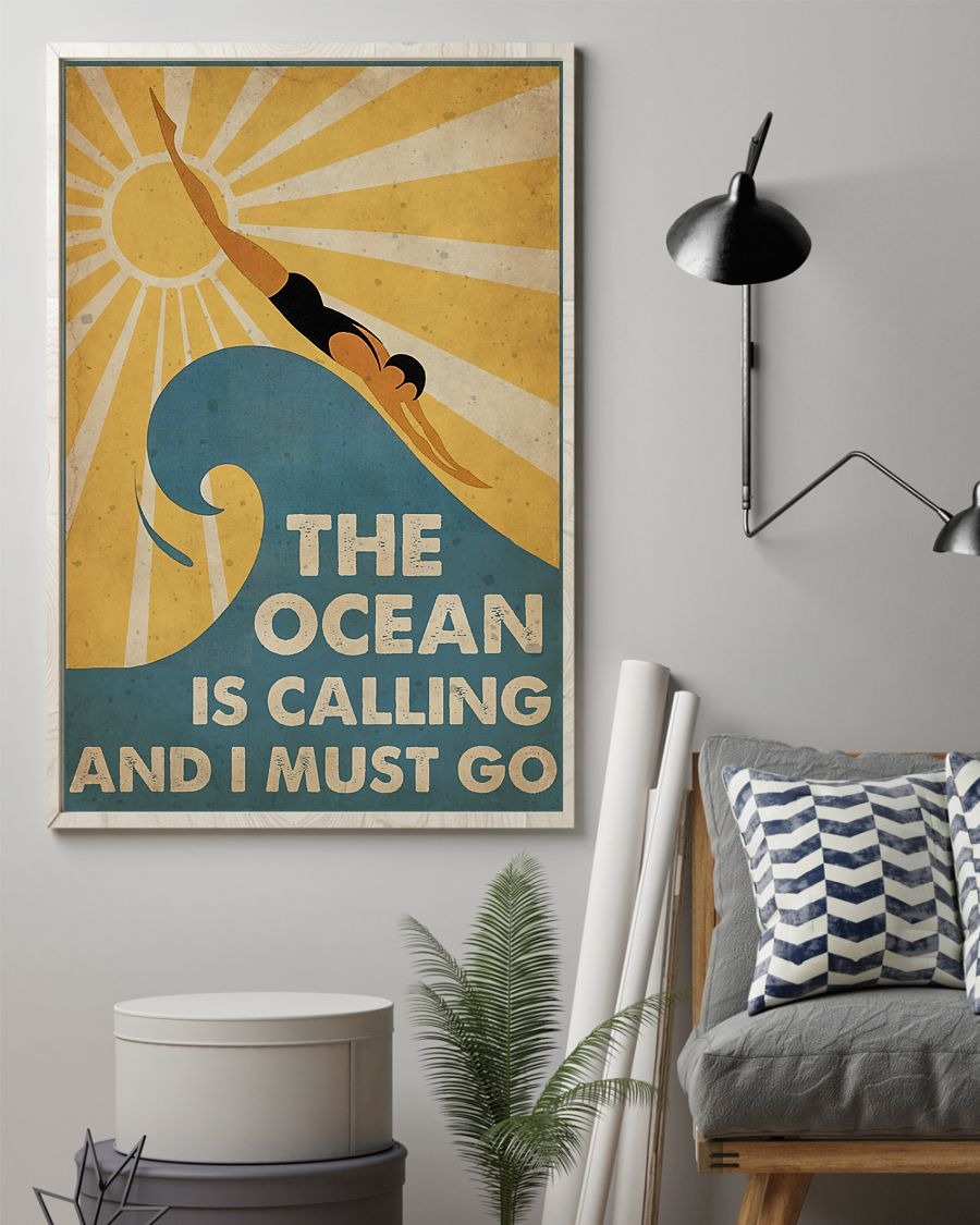 Mother's Day Gift Swimming The Ocean is calling and i must go poster