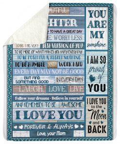 To my beautiful daughter I love you Mom fleece blanket1