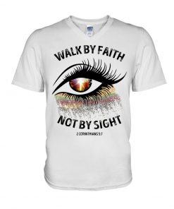Walk by faith not by sight Sparkle Christ eyes V-neck