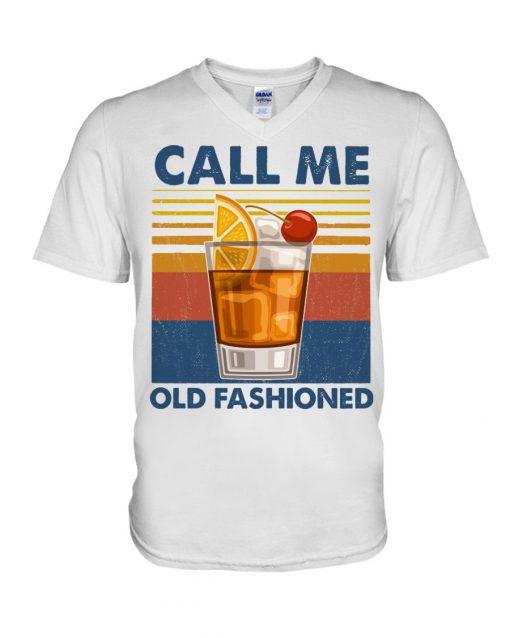 Wine Call Me Old Fashioned vintage v-neck