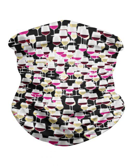 Wine glass patterns neck gaiter