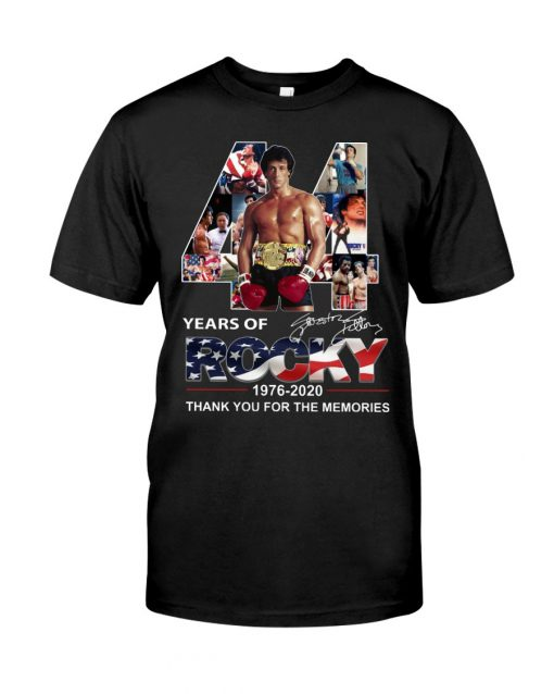 44 Years of Rocky 1976-2020 Thank you for the memories T-shirt