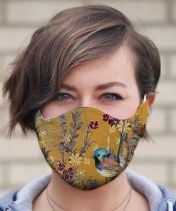 Aloha Beach Tropical Hawaiian Yellow Mountain Bluebirds cloth mask