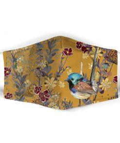 Aloha Beach Tropical Hawaiian Yellow Mountain Bluebirds cloth mask1