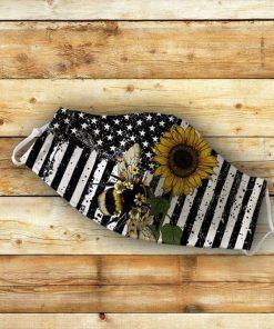 American flag Bee flowers mask