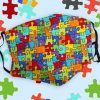 Autism Awareness puzzle piece drawing mask