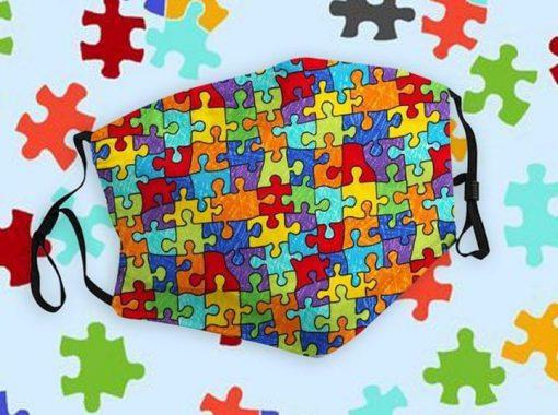 Autism Awareness puzzle piece drawing mask