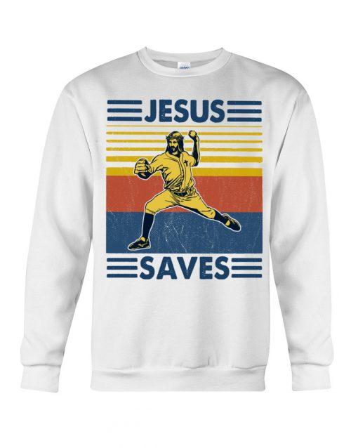 Baseball Jesus Saves Sweatshirt