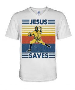 Baseball Jesus Saves V-neck