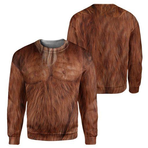 Brown Bigfoot Fur 3D hoodie1
