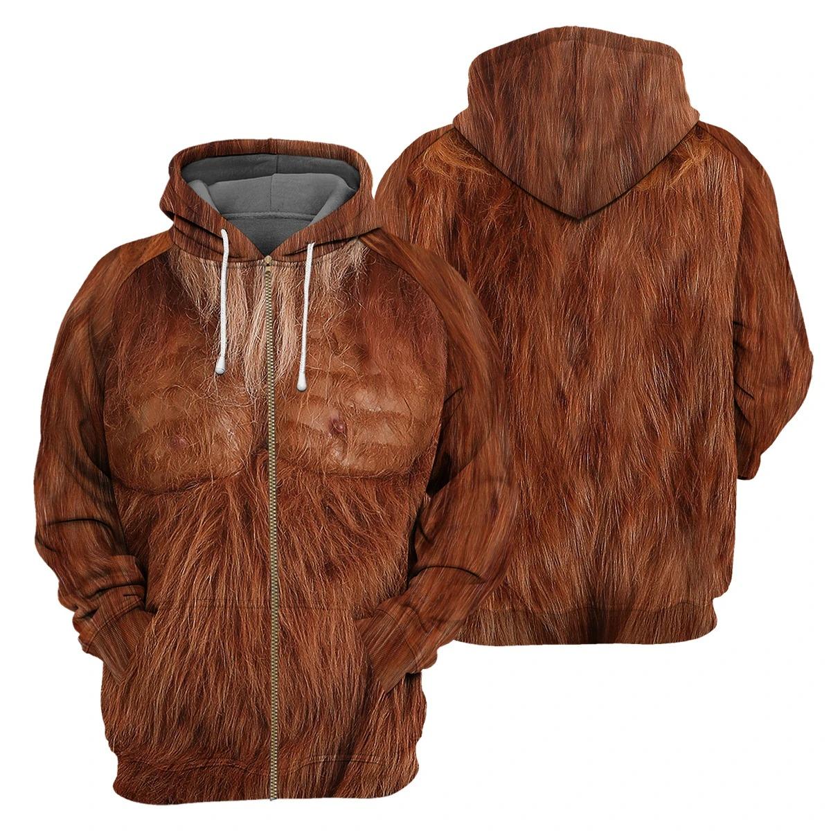 Brown Bigfoot Fur 3D hoodie4