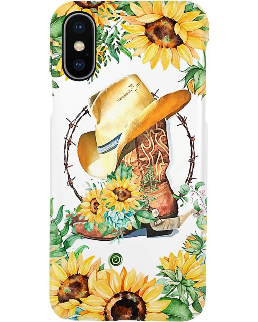 Cowboy boots with sunflowers phone case X