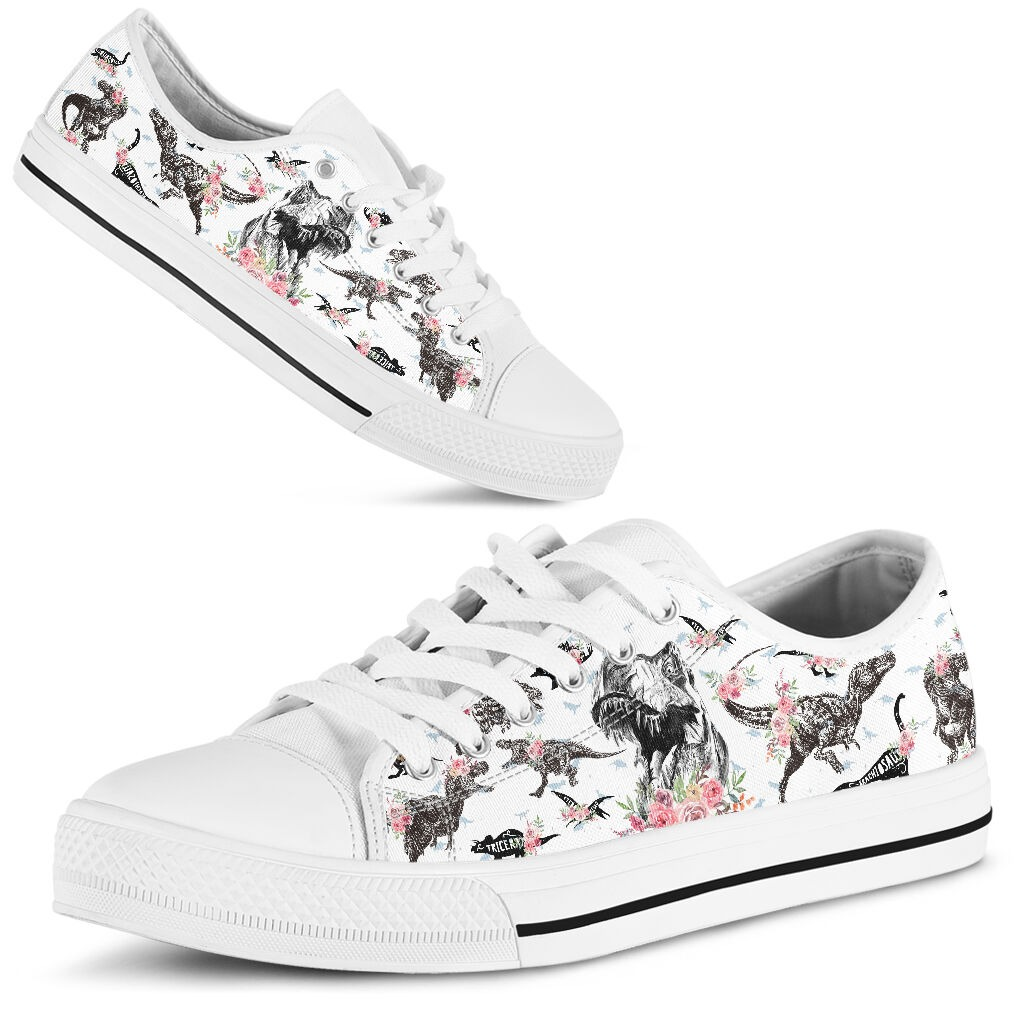 Dinosaurs pattern low top shoes 1