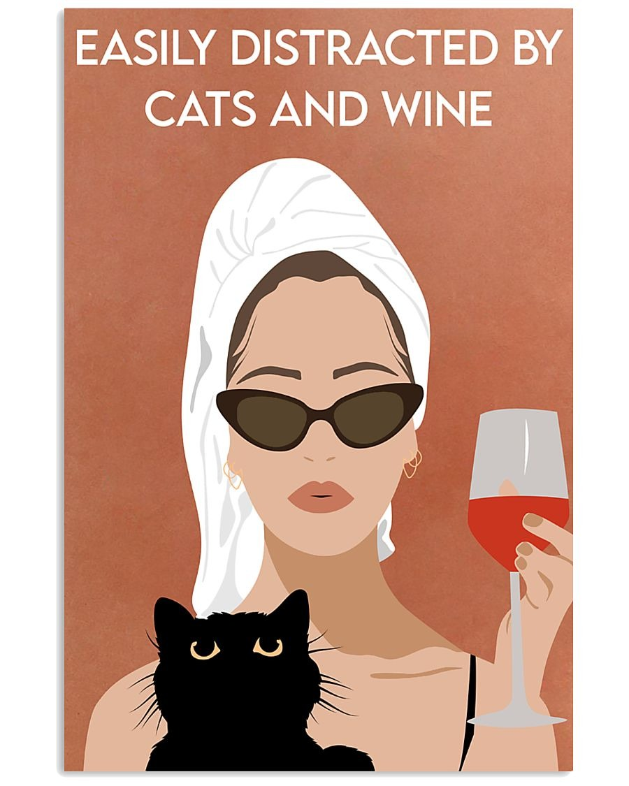 Awesome Easily distracted by cats and wine Girl bathing vintage poster