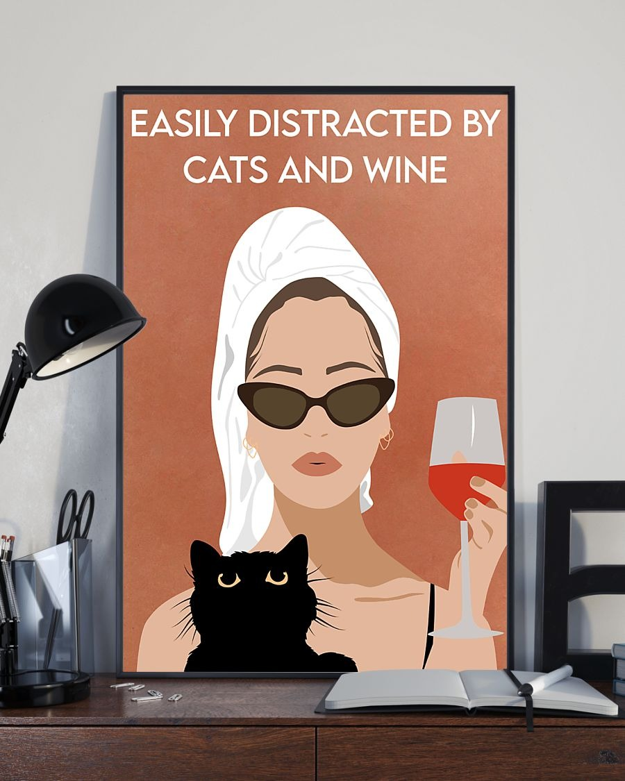 Official Easily distracted by cats and wine Girl bathing vintage poster