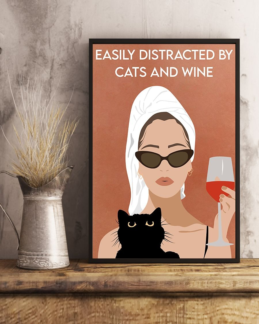 US Shop Easily distracted by cats and wine Girl bathing vintage poster