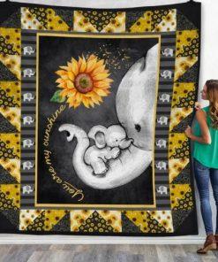 Elephant Sunflower Mom You are my sunshine fleece blanket 1