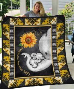 Elephant Sunflower Mom You are my sunshine fleece blanket 2