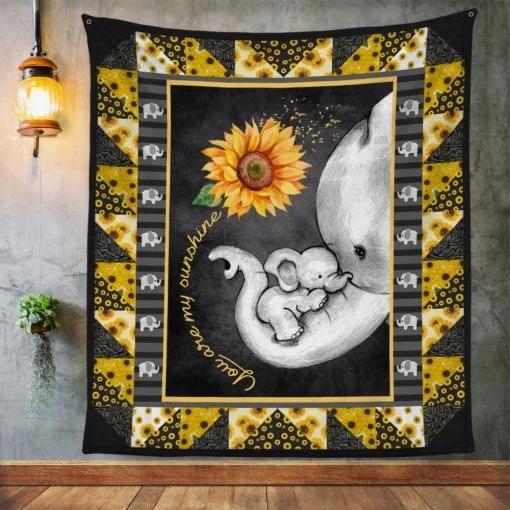 Elephant Sunflower Mom You are my sunshine fleece blanket 3