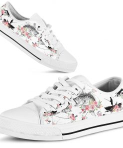Fishing pattern flower low top shoes
