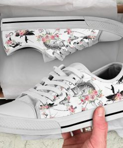 Fishing pattern flower low top shoes6