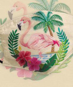 Flamingo Embroidery Tropical cloth mask