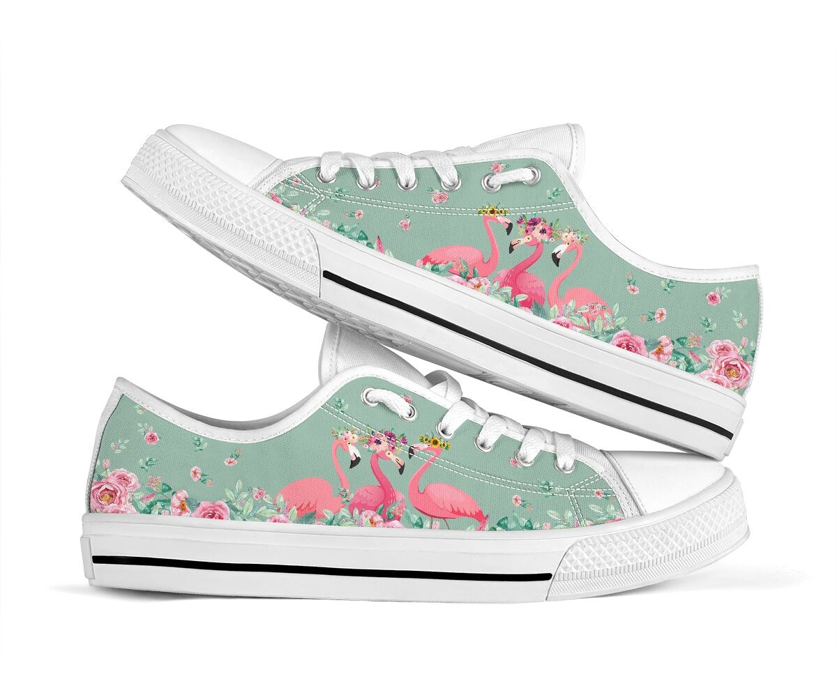 Flamingo's Flower low top shoes1