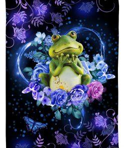 Frogs flower fleece blanket