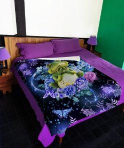 Frogs flower fleece blanket1