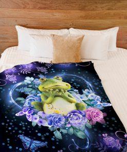 Frogs flower fleece blanket2