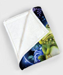 Frogs flower fleece blanket3