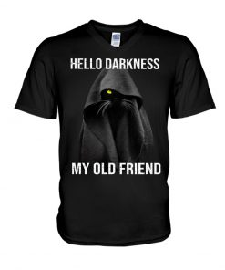 Hello Darkness My Old Friend Black Cat v-neck