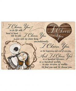 I choose you to do life with hand in hand side by side Jack Skellington and Sally poster poster 1