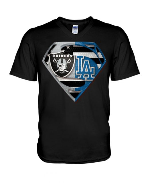Los Angeles Raiders and Dodgers super team v-neck