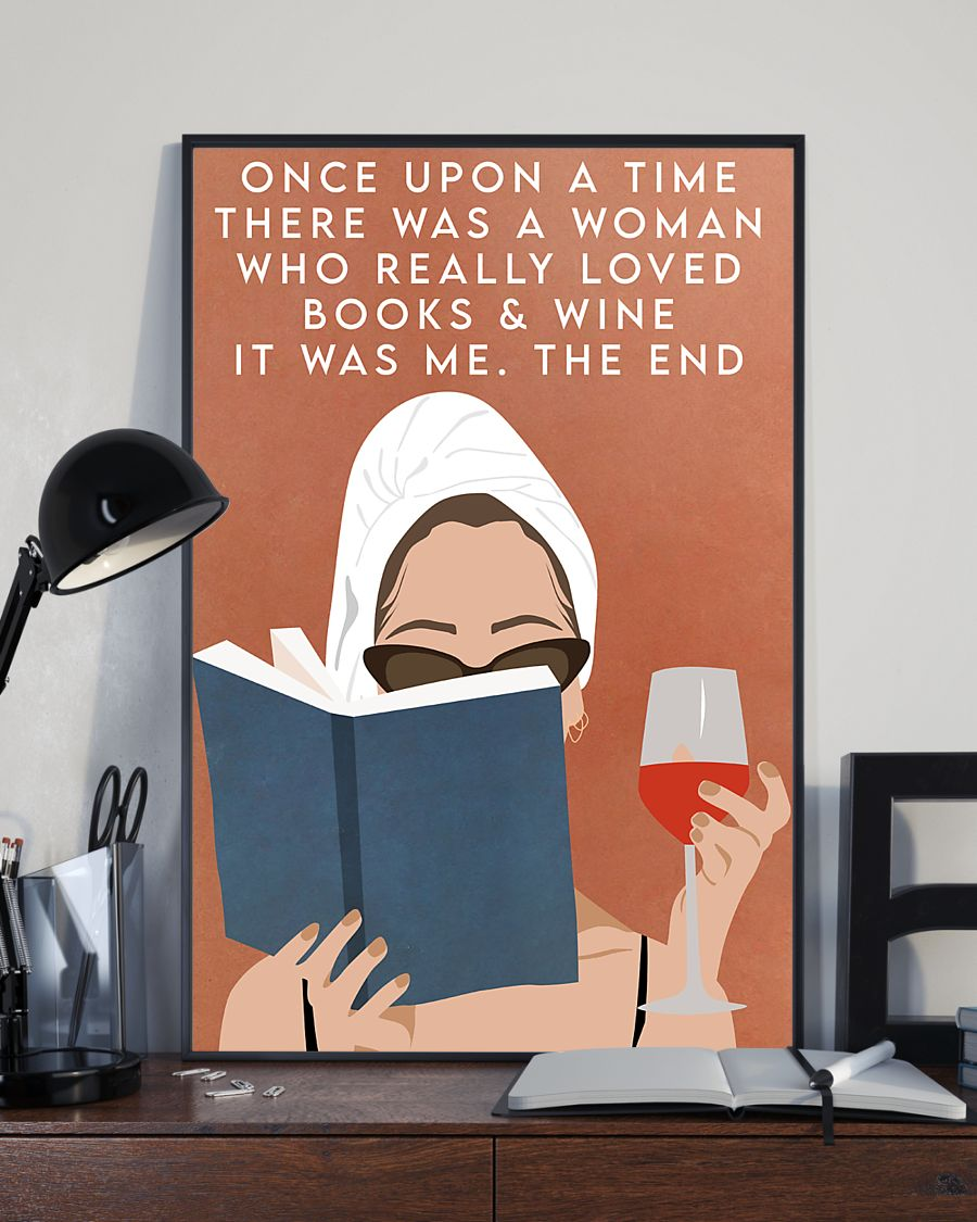 Top Selling Once upon a time there was a woman who loved books and wine vintage poster