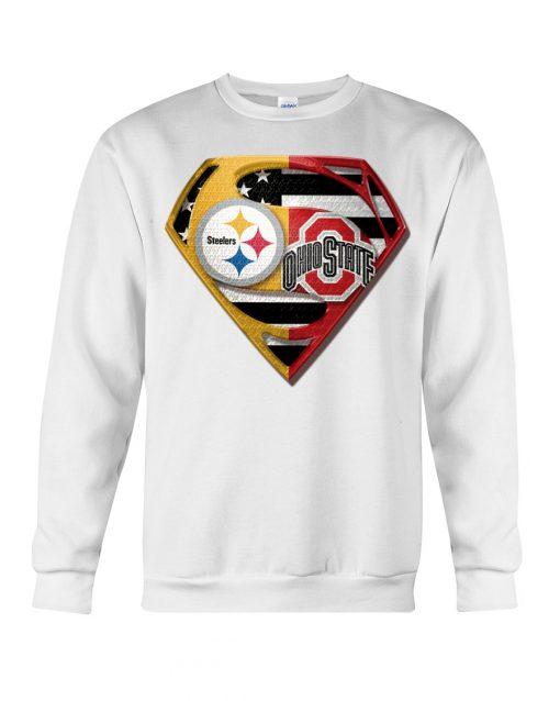 Pittsburgh Steelers and Ohio State Buckeyes superman sweatshirt
