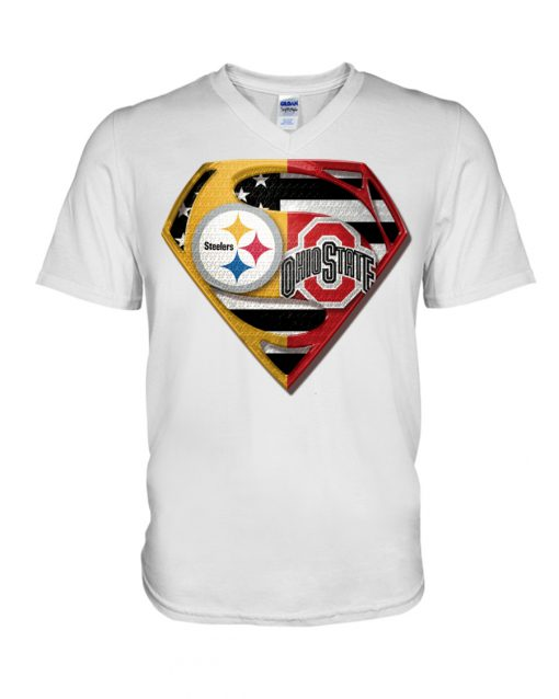 Pittsburgh Steelers and Ohio State Buckeyes superman v-neck
