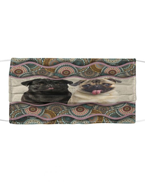 Pug Dog Boho Pattern cloth mask