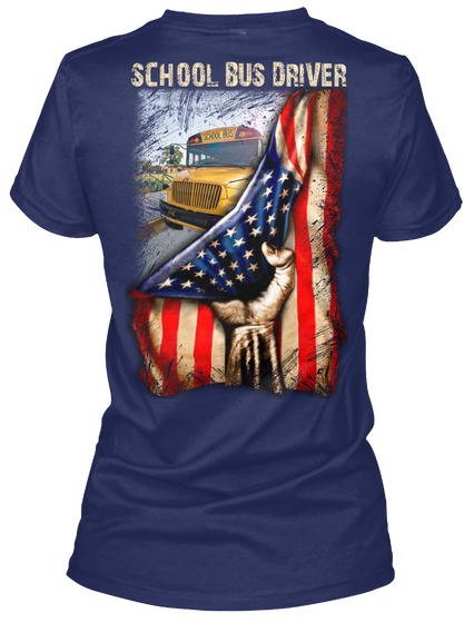 School Bus Driver American Flag V-neck