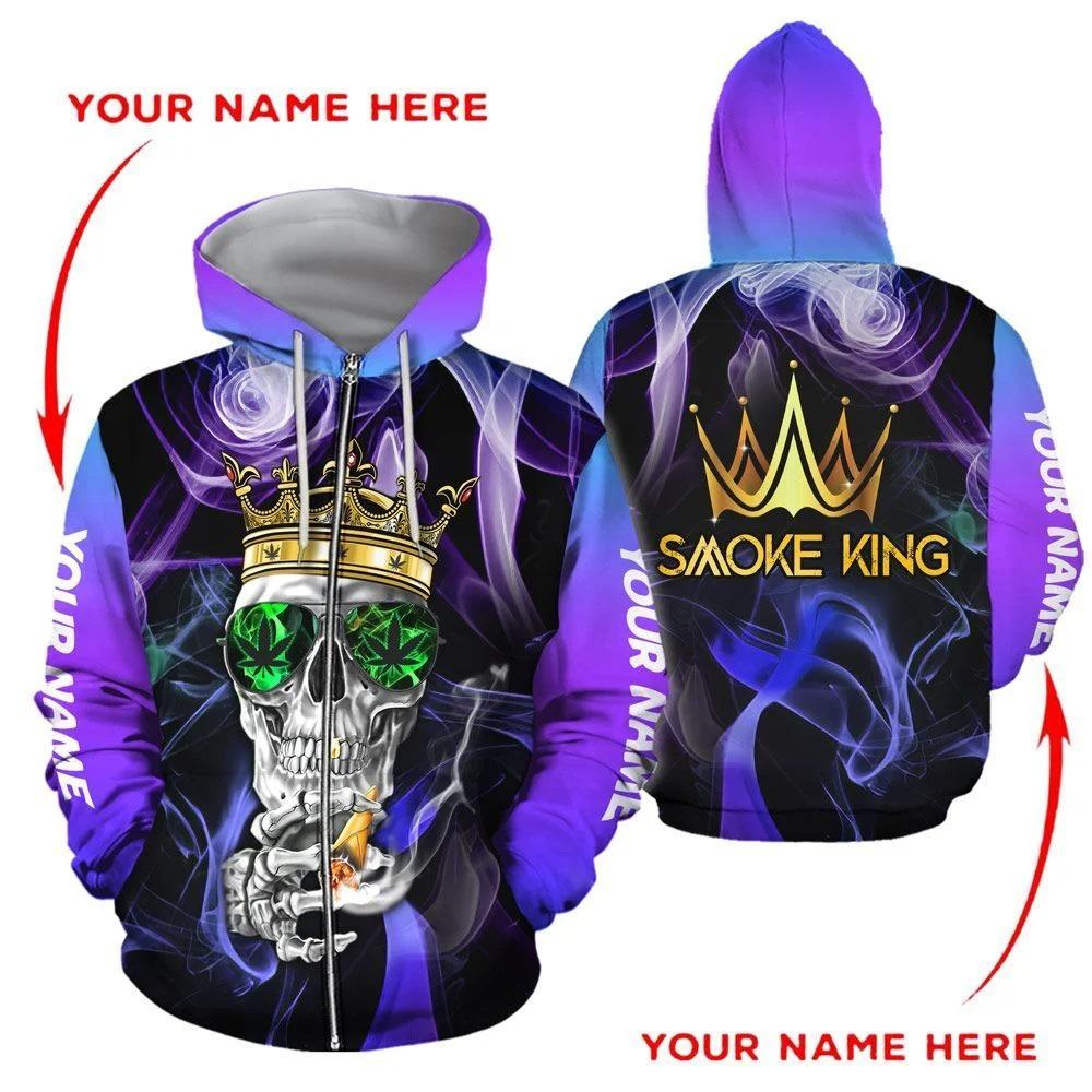 Smoke King Weed 3D zip hoodie