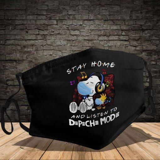 Snoopy Stay At Home And listen to D≡P≡CH≡ MOD≡ cloth mask