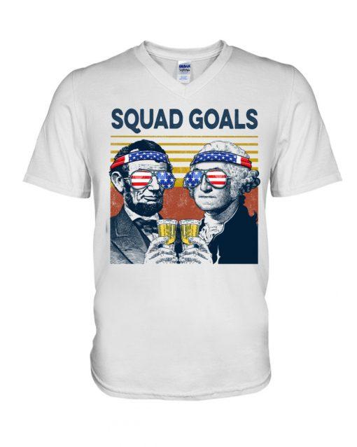 Squad Goal Benjamin Franklin and Abraham Lincoln Beer V-neck